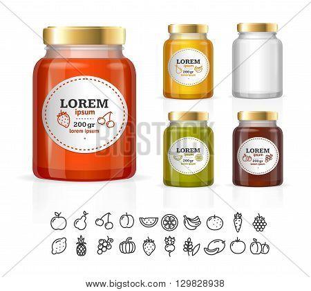 Glass Jars Bottles with Jam, Confiture, Honey. Vector illustration