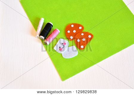 Stitched felt details, thread, needle - sewing set for felt toy mushroom. Kids crafts