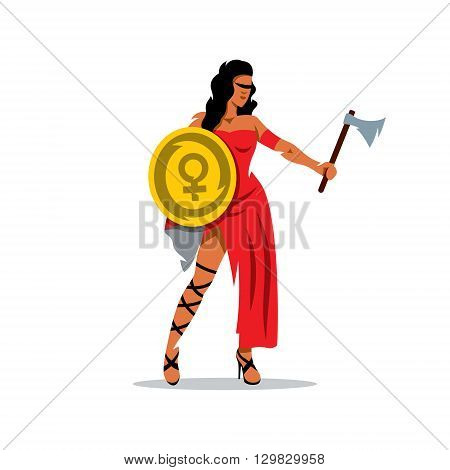 A woman with a shield and an ax in a red dress isolated on a white background