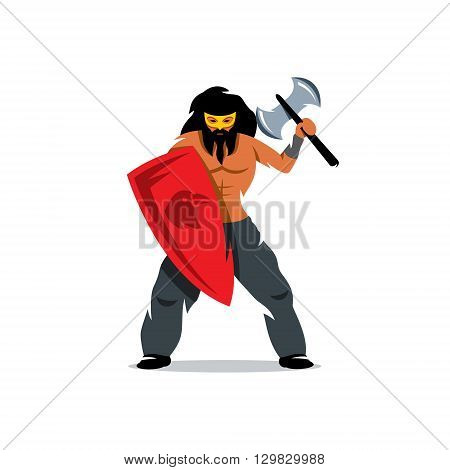 Barbarian Warrior protected with a shield and waving an ax. Isolated on a white background
