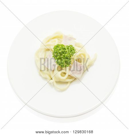 Spaghetti Carbonara With Ham Italian Food On Top View