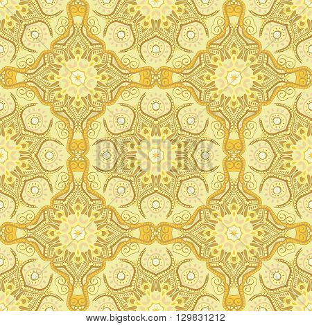 Seamless pattern with beautiful Mandalas in lemony colors. Vector illustration