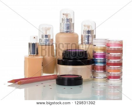 Set of professional cosmetics for make-up, nail isolated on white background.