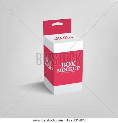 Realistic product package box mock-up with hang slot. Vector mockup template in red color.