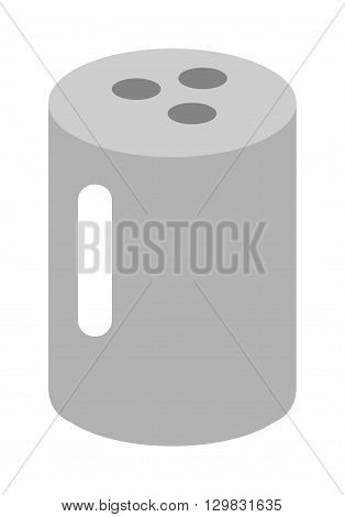 Salt shaker. Do pour salt from salt cellar. Baking and cooking ingredient salt cellar. Cartoon salt cellar vector. Food seasoning salt cellar. Kitchen utensils salt cellar ingredient container.