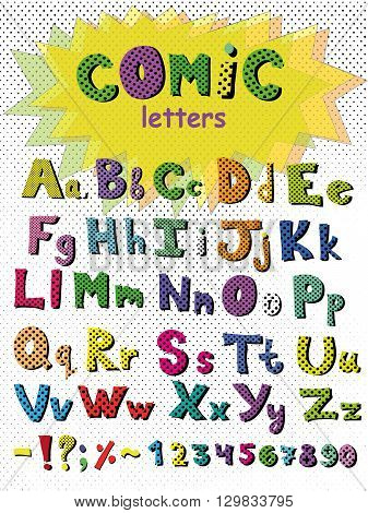 Alphabet in comic style. Vector abstract alphabet with colorful letters. Hand drawn font and alphabet.