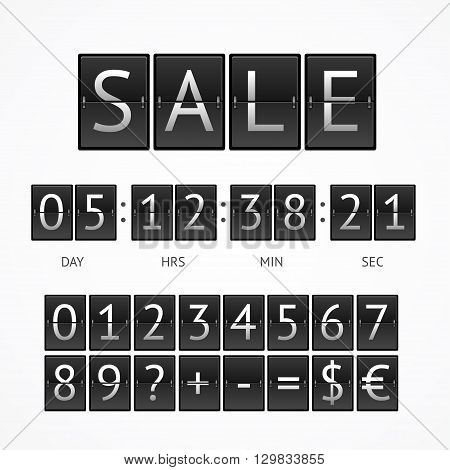 Counter Seasonal Sale Concept.  Lettering on Black Boards. Vector illustration