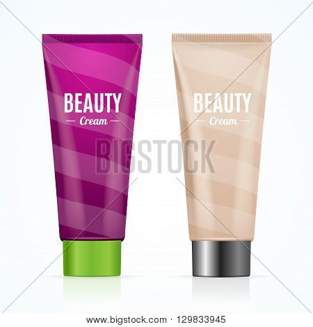 Cream Tube Mock Up Set with Inscriptions. Vector illustration