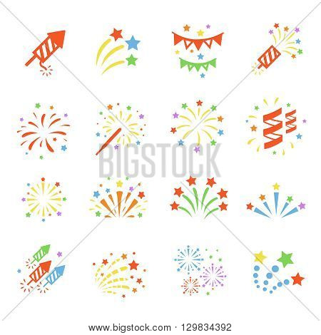 Firework colored icon set with burst petard, stars. Festival celebrate and party.