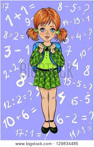 Schoolgirl with suitcase vector illustration. Background with with examples of problems figures hand drawing
