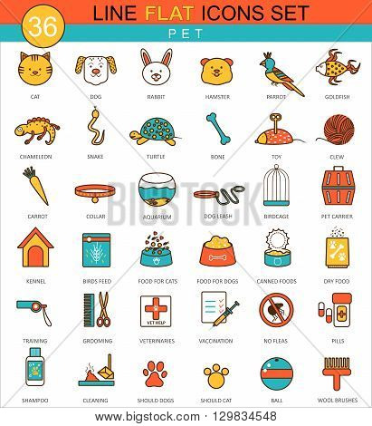 Vector Pets animal flat line icon set. Modern elegant style design for web