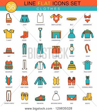 Vector Clothes flat line icon set. Modern elegant style design for web