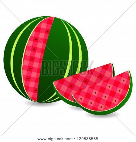 Flat icon watermelon and slice of watermelon. Vector illustration, isolated on white.