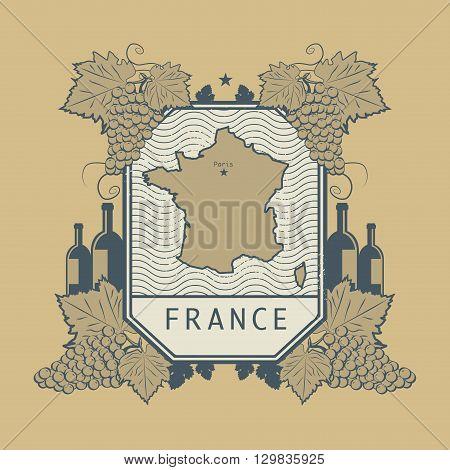 Vintage wine label with map of France, vector illustration