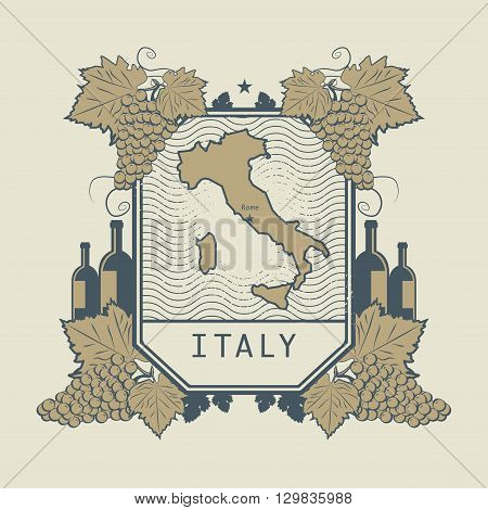 Vintage wine label with map of Italy, vector illustration