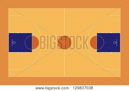 Basketball court. Sport ground top view. Vector illustration