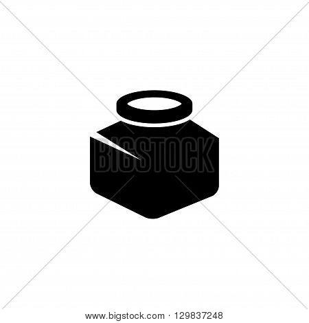 Vector black inkwell icons set on white background.