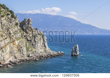 background landscape view on the rock sail near the Swallow's Nest, Gaspra, Yalta