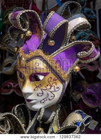 Handmade Carnival Venetian Mask in Gold White and Purple