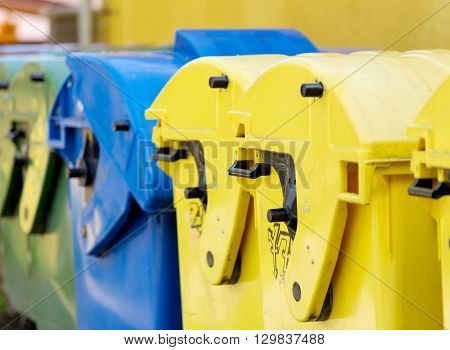 recycling container waste sorting concept outdoor. Separate collection systems for garbage. recycle concept
