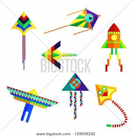 Vector illustration of set of colored kite on a white background. A flat kite for outdoor play sandbox entertainment. Kite flying festival for design