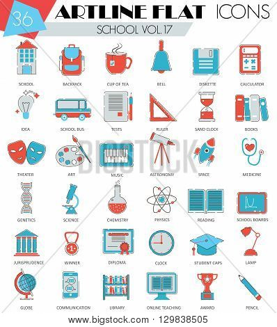 Vector School University college ultra modern outline artline flat line icons for web and apps