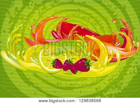 color splashes of juice over color background
