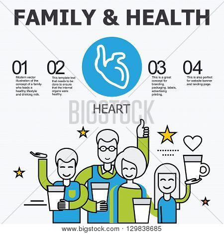 Internal organs - heart. Family and a healthy lifestyle. Medical infographic icons, human organs, body anatomy. Vector icons of internal human organs Flat design. Internal organs icons.