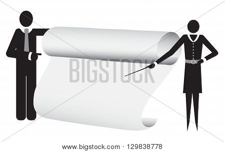 Business man cartoon character holding blank sign board