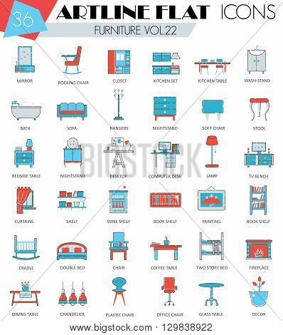 Vector Furniture ultra modern outline artline flat line icons for web and apps