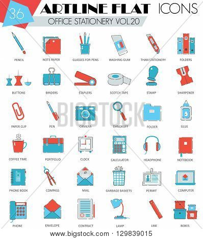 Vector Office stationery ultra modern outline artline flat line icons for web and apps