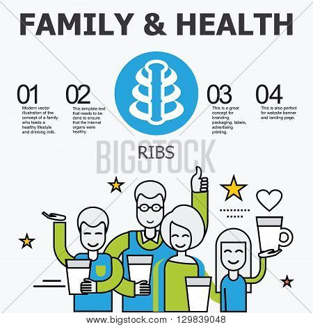 Internal organs - ribs. Family and a healthy lifestyle. Medical infographic icons, human organs, body anatomy. Vector icons of internal human organs Flat design. Internal organs icons.