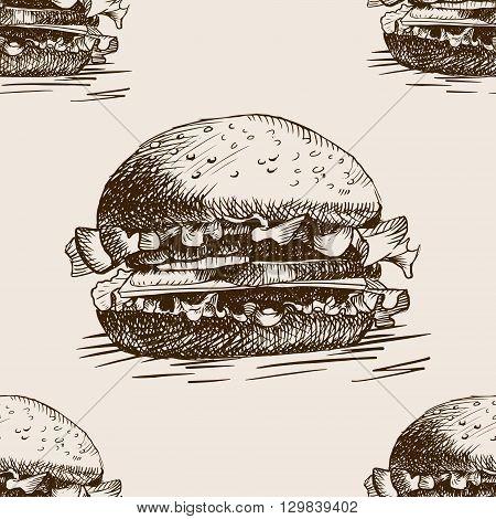 Burger sandwich sketch style seamless pattern vector illustration. Hand drawn sketch imitation