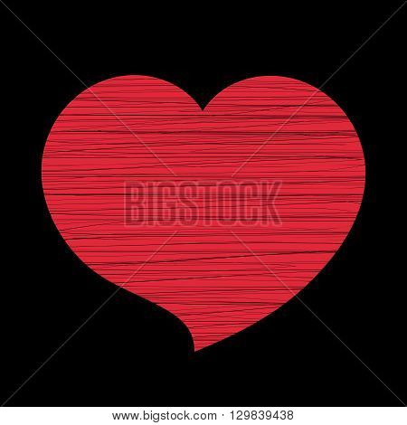 Red heart icon. Grunge texture shape sign isolated on black background. Symbol romantic love passion wedding. Design element for Valentine day holiday or greeting decoration. Vector illustration