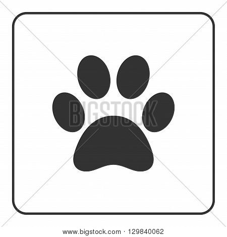 Pets paw icon. Animal sign. Black silhouette mark print isolated on white background. Symbol of dog puppy or cat kitten kitty. Modern graphic design element. Flat concept label. Vector illustration