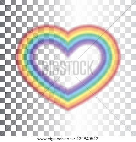 Rainbow icon heart. Shape realistic sign isolated on transparent background. Colorful light and bright design element for decorative concept. Symbol of rain sky clear and love. Vector illustration.