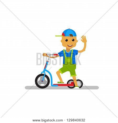 Vector illustration kid scooter on white background. Happy cartoon boy with scooter on isolated.
