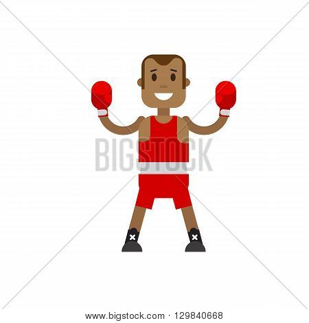 Character boxer in red uniforms and boxing gloves. Boxer is the winner hands up on white background. Vector flat illustration