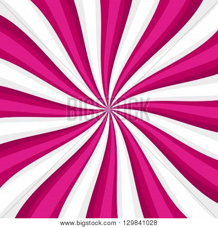 Pink Lollypop Candy Background with Swirling, Rotating, Twirling Stripes. Vector illustration