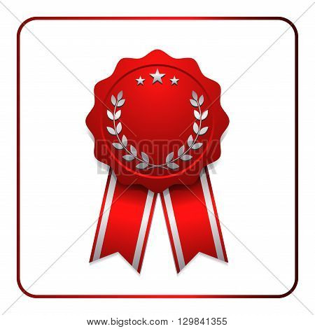 Ribbon award icon. Red badge isolated on white background. Medal design element. Label emblem. Blank certificate winner or prize decoration. Sumbol first victory success win. Vector illustration