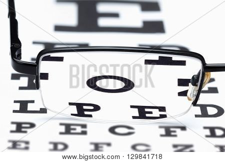 Glasses eye exam chart ophthalmologist isolated on white background