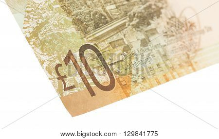 Scottish Banknote, 10 Pounds, Isolated On White