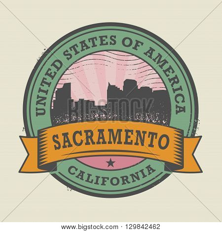 Grunge rubber stamp or label with name of Sacramento, California, vector illustration