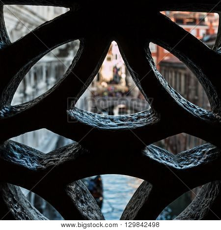 View From An Opening Inside Bridge Of Sighs In Venice - Italy