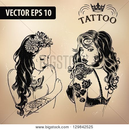 Vector tattoo studio logo templates on dark background. Cool retro styled vector emblems.