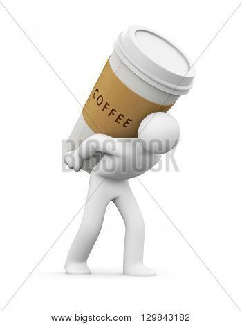 Person carries a cup of coffee. 3d illustration