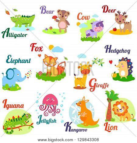 Cute animal alphabet for ABC book. Vector illustration of cartoon animals. Ab c d e f g h i j k l