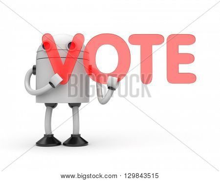 Robot with word Vote. 3D illustration
