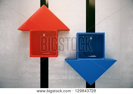 Different direction concept with red and blue arrow elevators going up and down. 3D Rendering