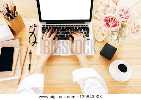 Woman Using Notebook